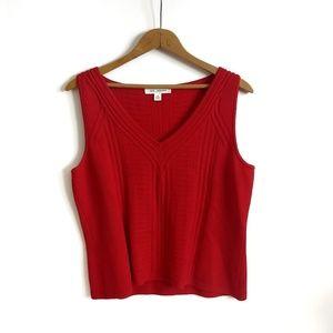 St. John red knit tank top